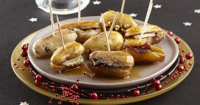 brochette de pommes de terre au barbecue et porc caramélisé