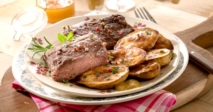 Un plat original pour épater les convives ! Pavé d'autruche mariné et Fine de Ratte du Touquet soufflées