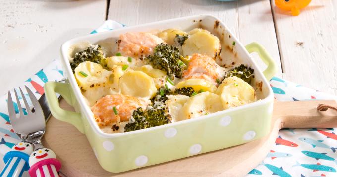 Gratin de Ratte du Touquet, saumon & brocolis