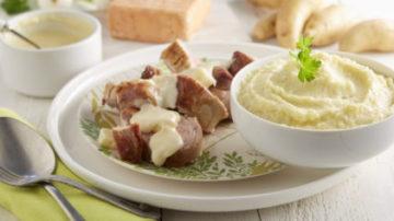 Filet mignon de porc au Maroilles et purée de pommes de terre