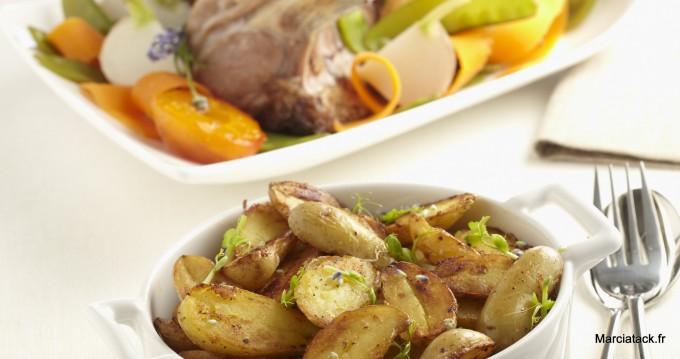 Pommes de terre rissolées et carré d'agneau